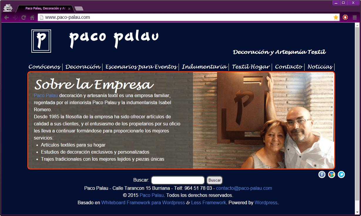Página Web negocio de decoración e indumentaria