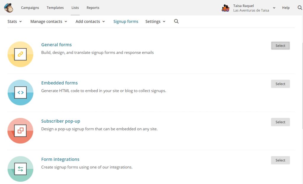 Opciones de Signup forms - Formularios de Contacto para tu lista de suscriptores con Mailchimp