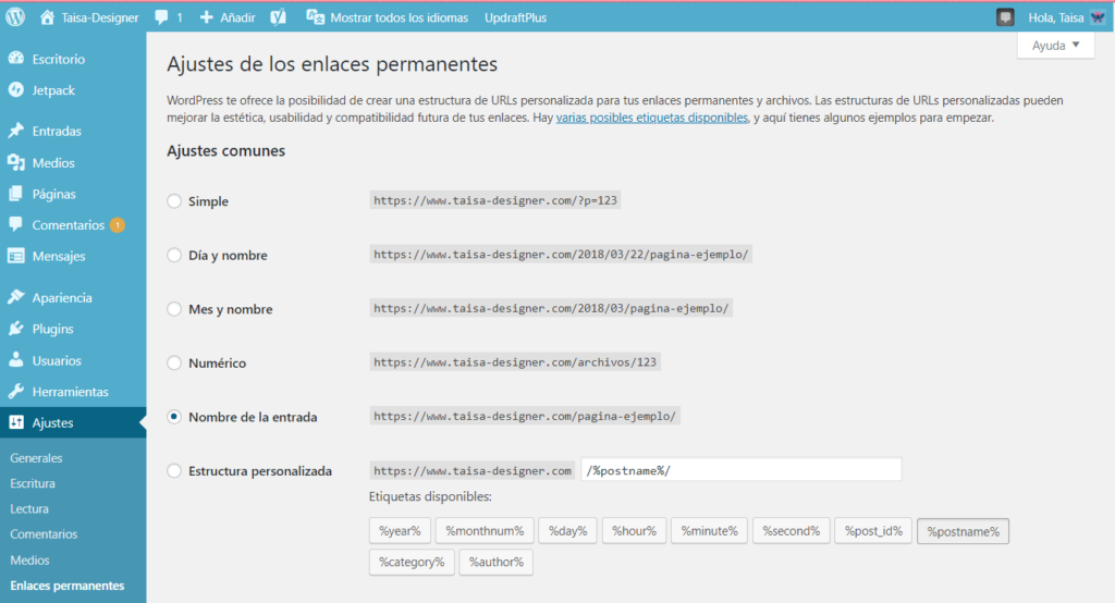 Configurar los enlaces permanentes de un Blog de Worpdress