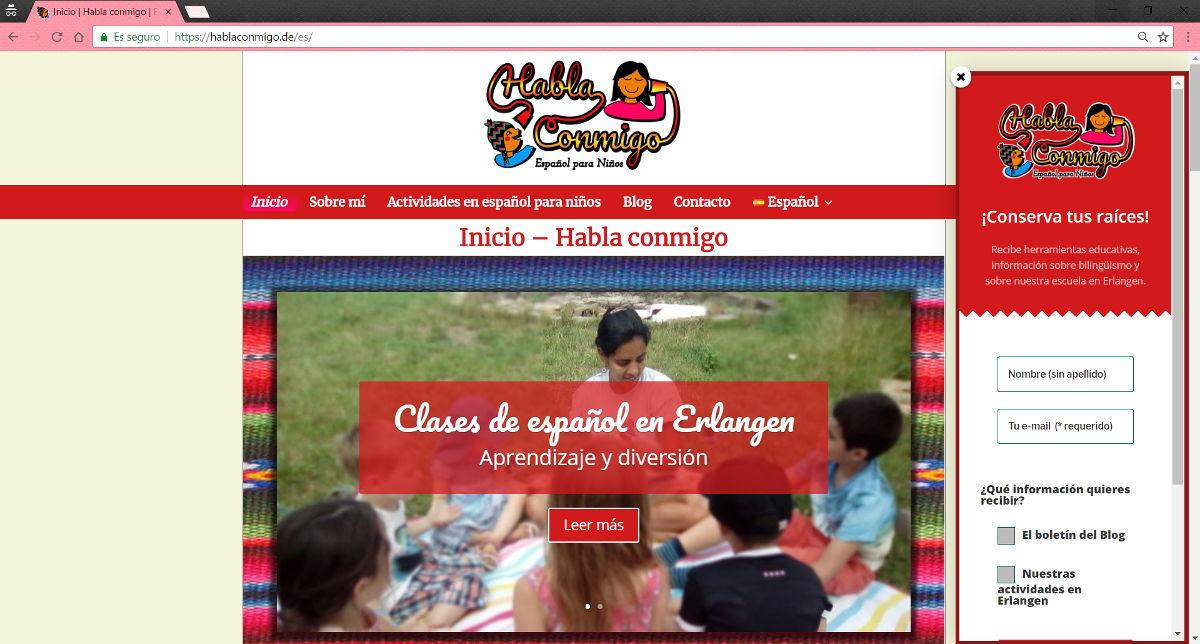 Diseño web - Clases español para niños