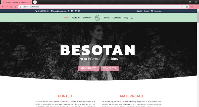 Diseño y desarollo web para Besotan: Asesoría de Porteo