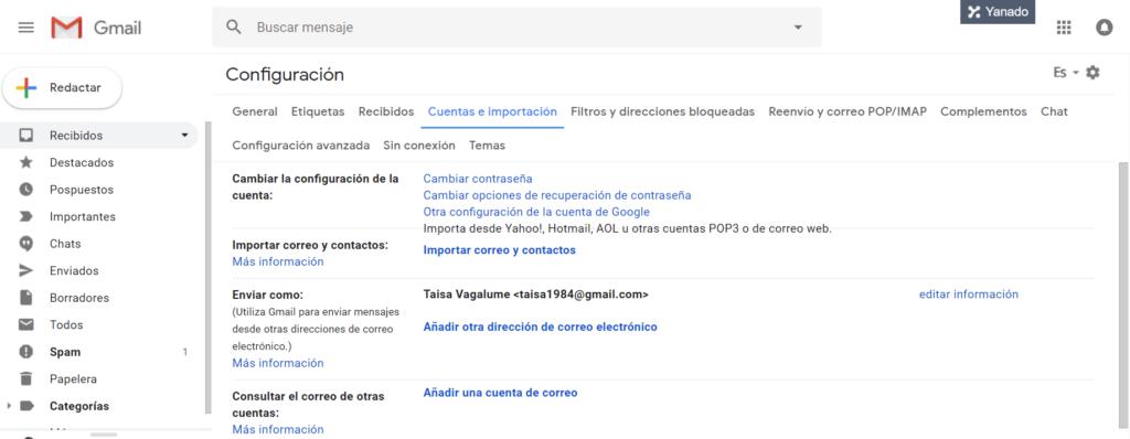 Como gestionar tu cuenta de correo de dominio propio con Gmail - Configuración de Gmail para recibir y enviar correos de otras cuentas