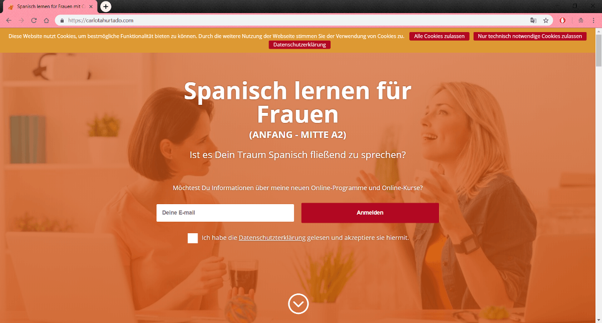 Diseño web de Carlotahurtado.com – Clases de español