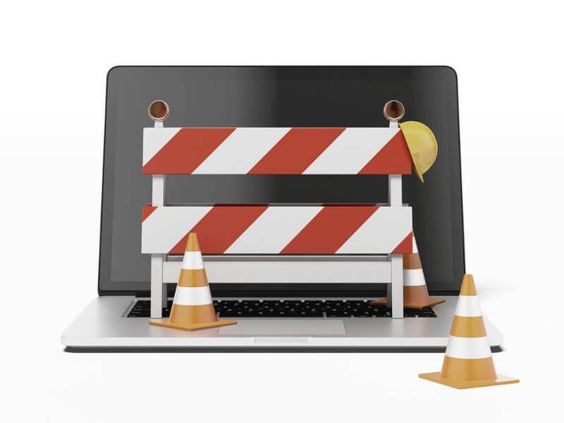 Hosting caídas - Imagen ilustrativa, página inaccesible, ordenador obras
