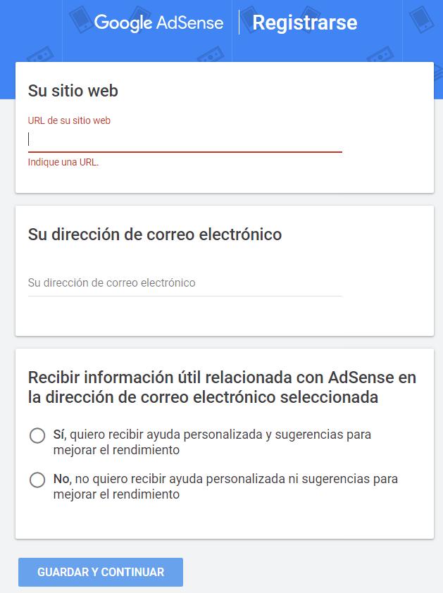 Cómo registrarse en AdSense
