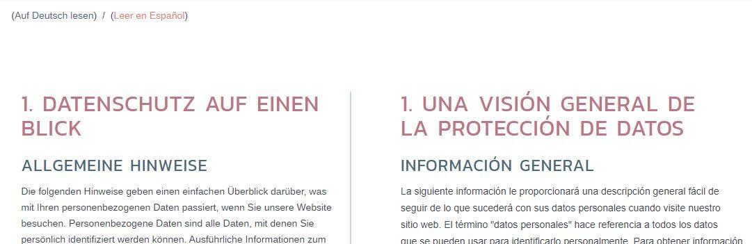 Ejemplo de política de privacidad en dos idiomas