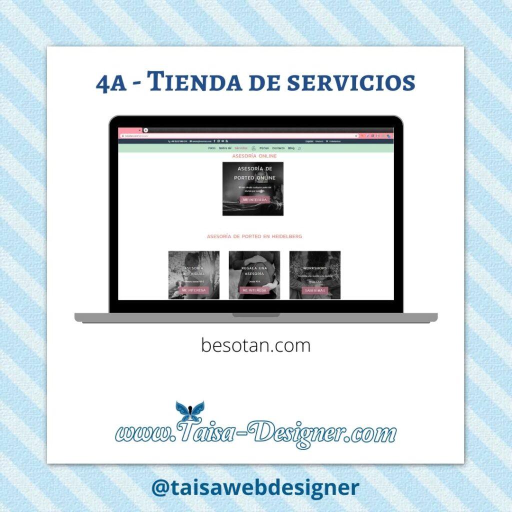 Ejemplo de tienda online de servicios