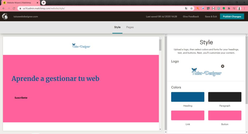 Crear una web con Mailchimp y dominio gratis