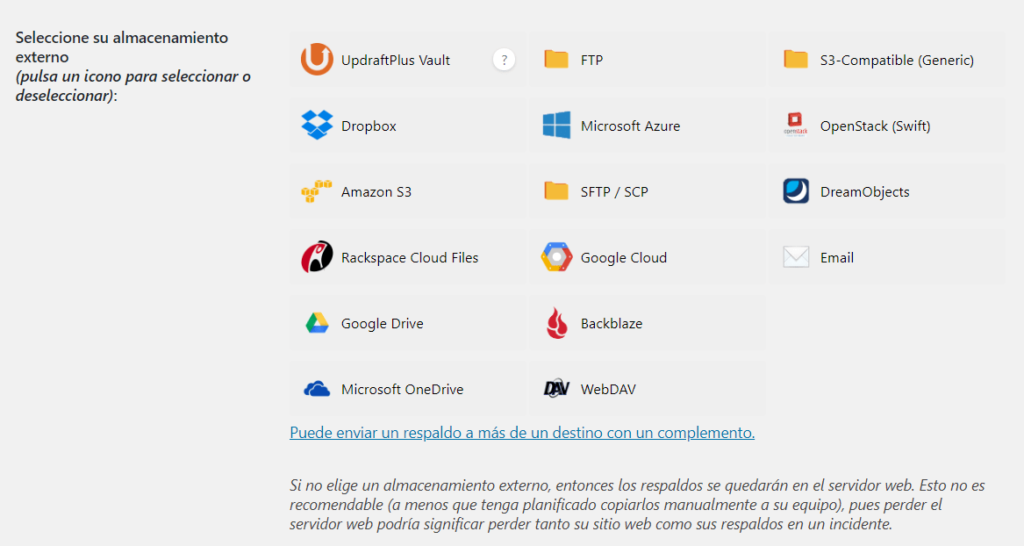 Guardar copias de seguridad de la web en un servidor externo con UpdraftPlus