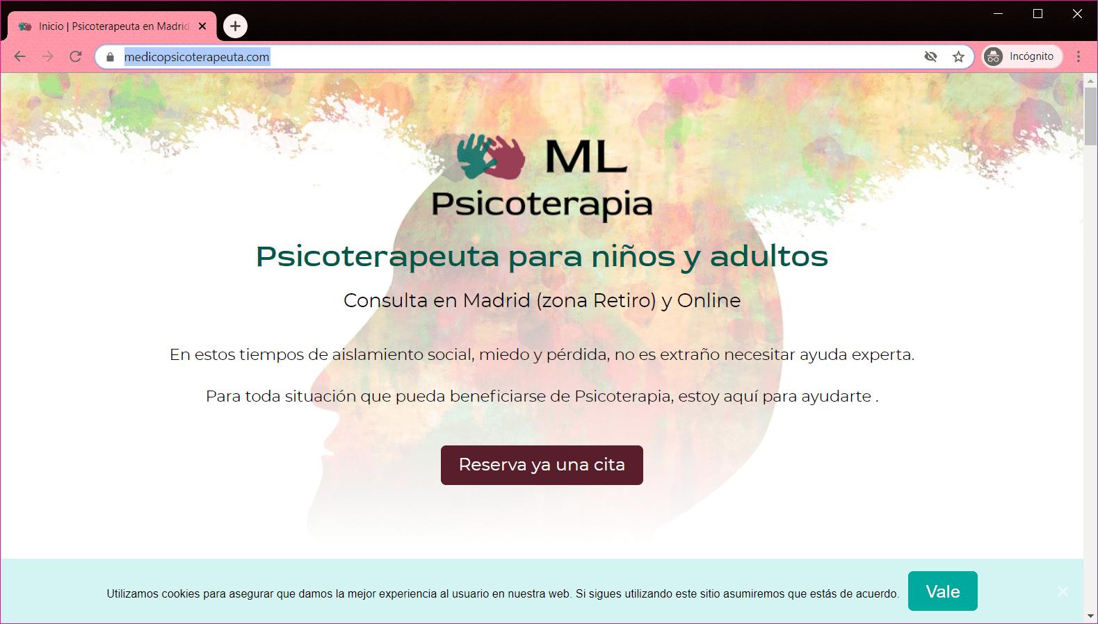 Diseño web para Medicopsicoterapeuta